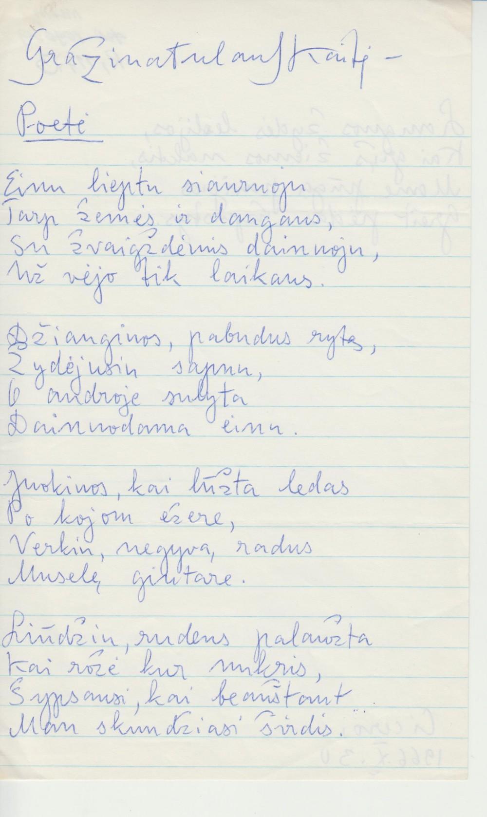 G. Tulauskaitės rankraštis