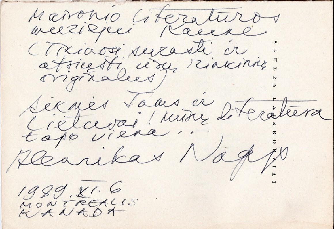 H. Nagio dedikacija Maironio lietuvių literatūros muziejui