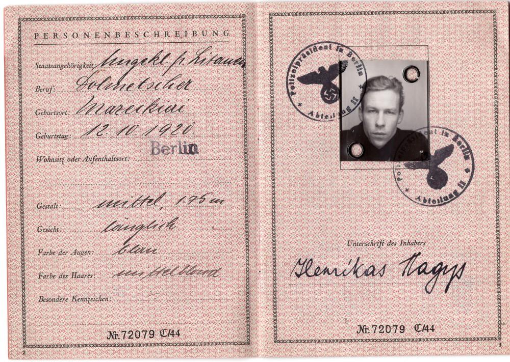 H. Nagio pasas, išduotas Vokietijoje