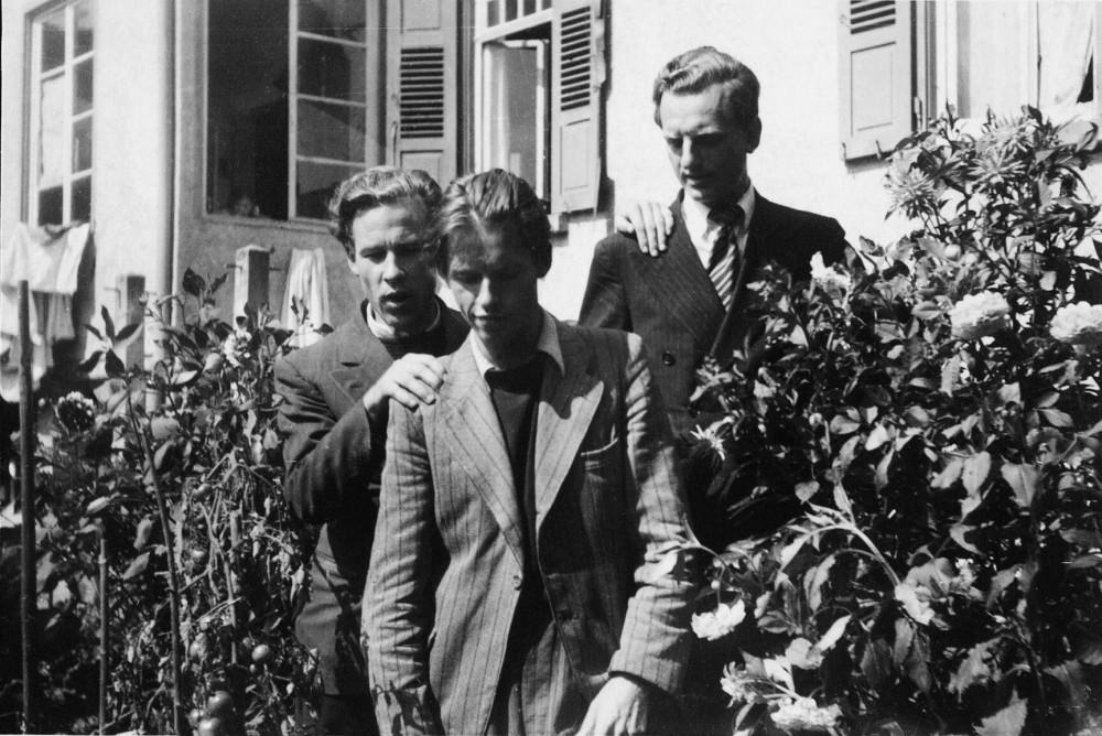 H. Nagys, A. Nyka-Niliūnas, J. Kaupas Tiubingene. 1945 m.