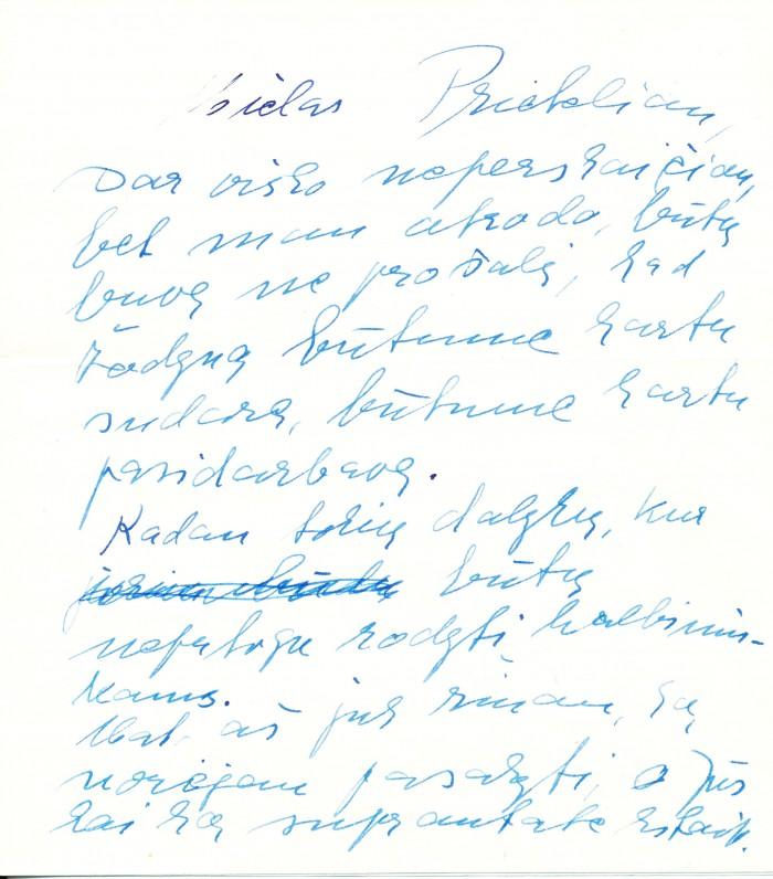 I. Simonaitytės laiškas bičiuliui pedagogui K. Masiliūnui