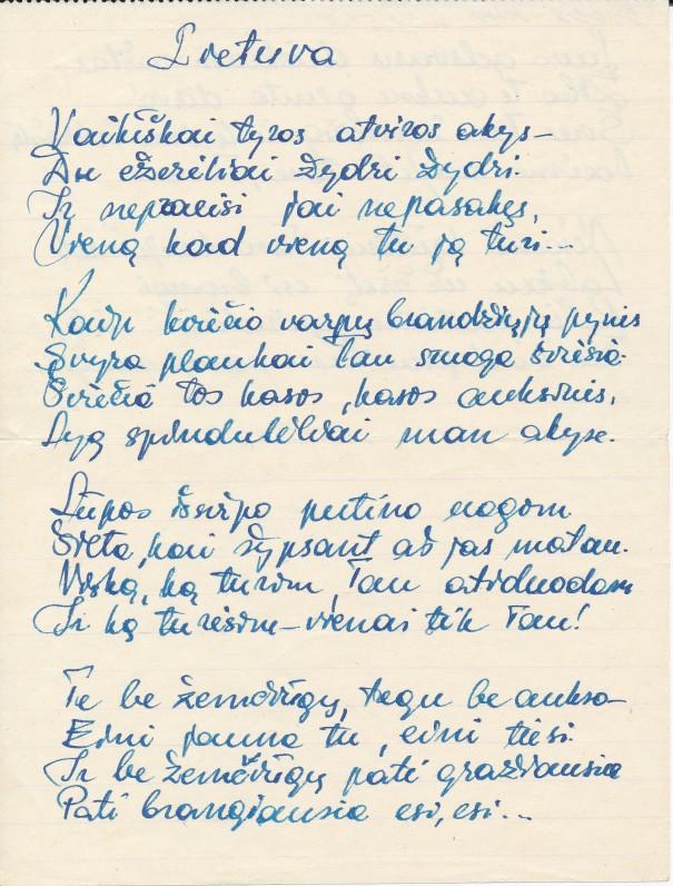 """J. Degutytės eilėraštis """"Lietuva"""", siųstas laiške V. Lopaitytei"""