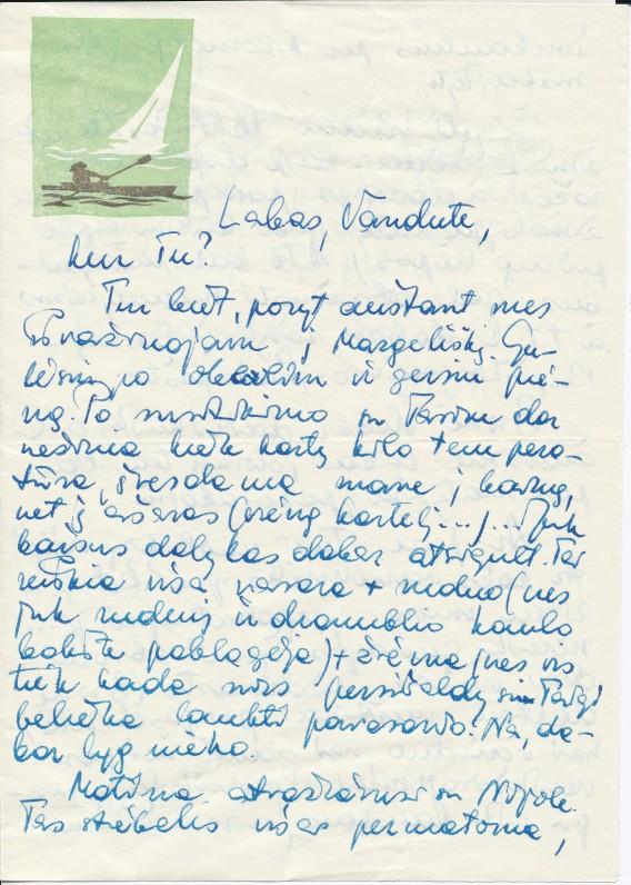 """J. Degutytės laiškas draugei Vandai Lopaitytei. Vandai dedikuotas eilėraštis """"Vakariniai maratonai"""" iš paskutinio eilėraščių rinkinio """"Purpuru atsivėrusi"""""""