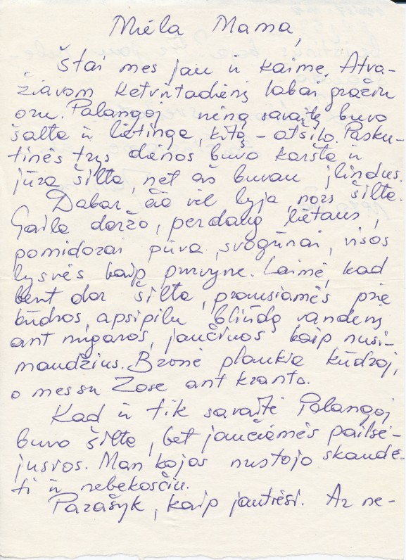 J. Degutytės laiškas motinai