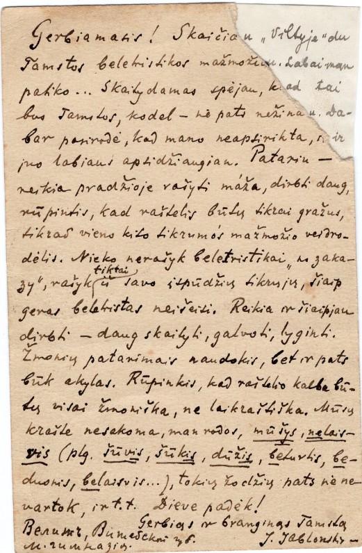 J. Jablonskio atvirlaiškis mokytojui Justinui Strimaičiui. 1916.02.15