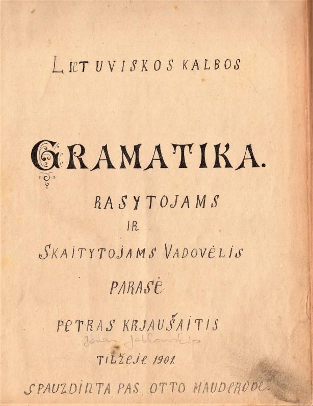 J. Jablonskio gramatika. Tilžė. 1901 m.