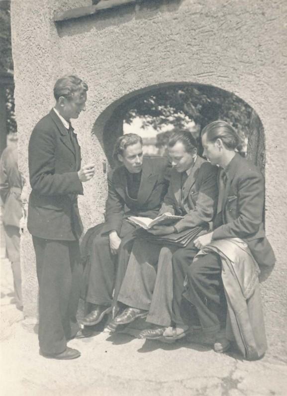 J. Kaupas, H. Nagys, K. Bradūnas, A. Nyka-Niliūnas. Vokietija, 1947 m.