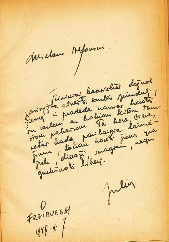 J. Kaupo dedikacija A. Nykai-Niliūnui