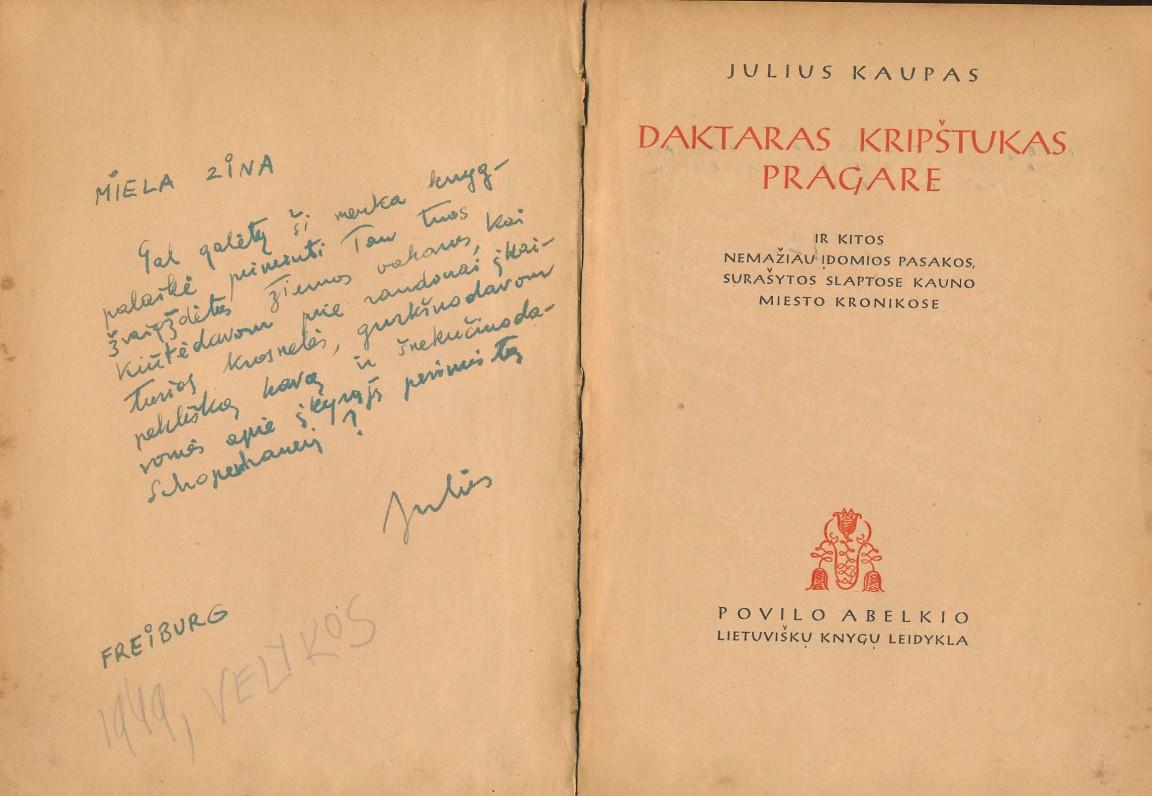 J. Kaupo dedikacija Z. Nagytei (Liūnei Sutemai)