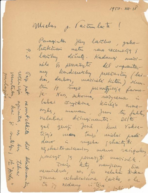 J. Kaupo laiškas A. Vaičiulaičiui