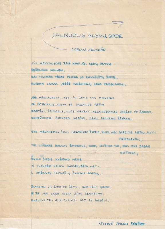 J. Kėkšto vertimo iš ispanų kalbos rankraštis