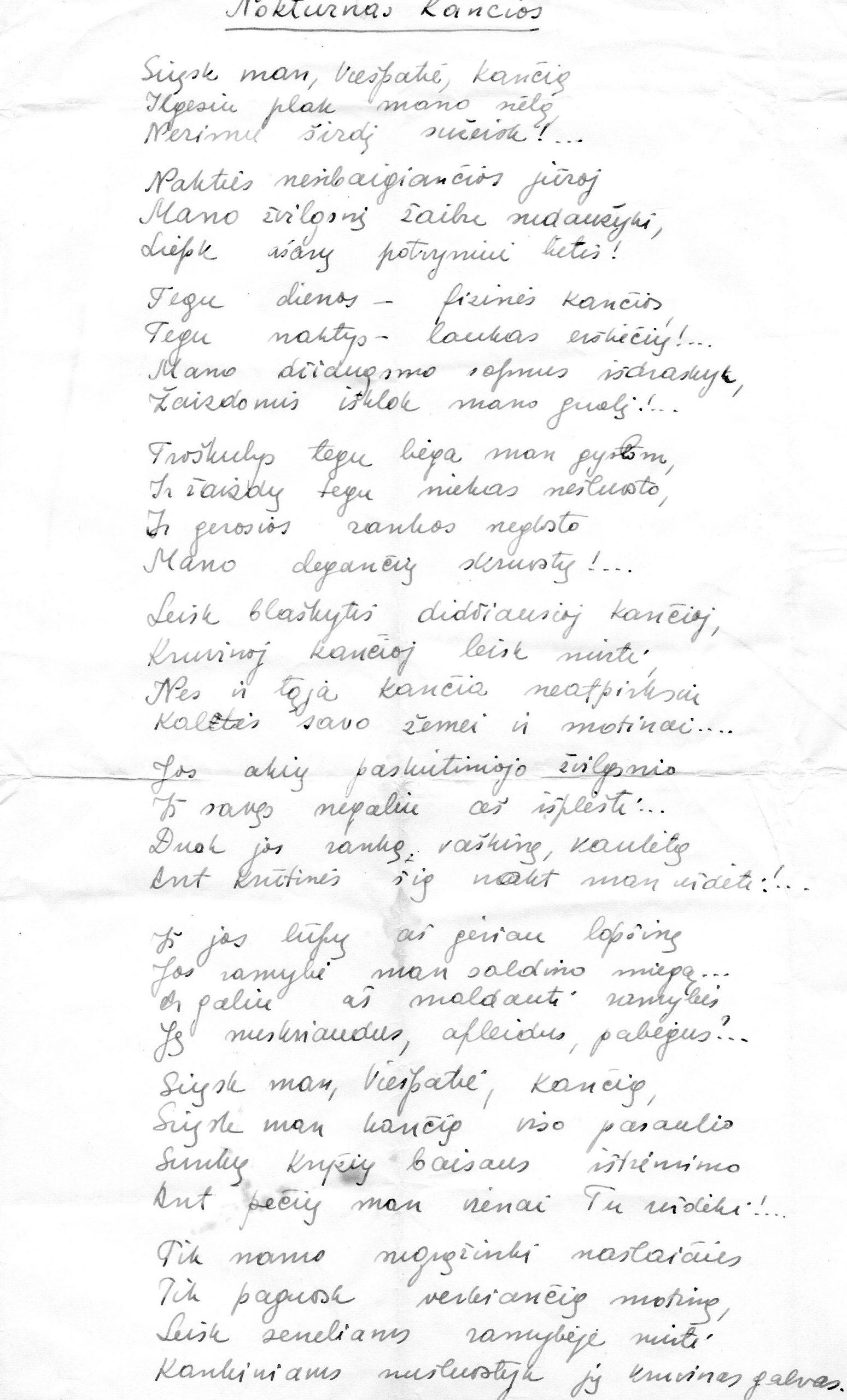 """J. Švabaitės eilėraštis """"Noktiurnas kančios"""""""