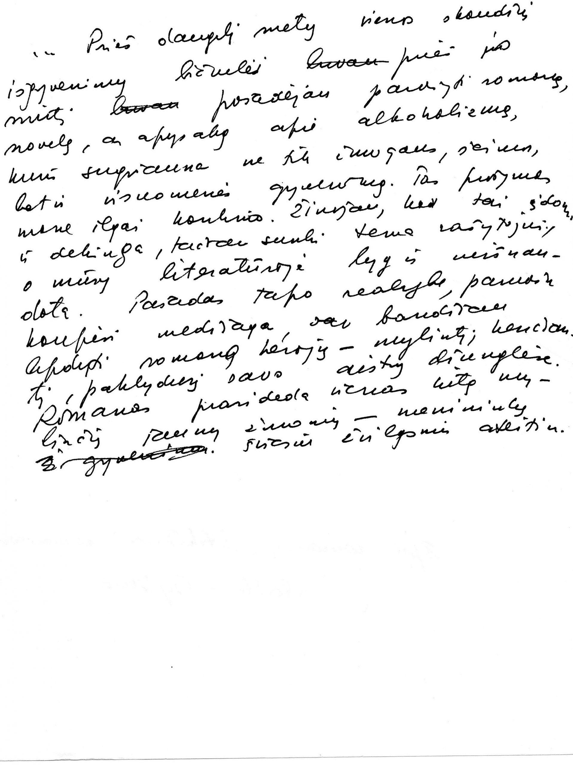 """J. Švabaitės rankraštis. Apie romano """"Stikliniai ramentai"""" sukūrimo aplinkybes"""