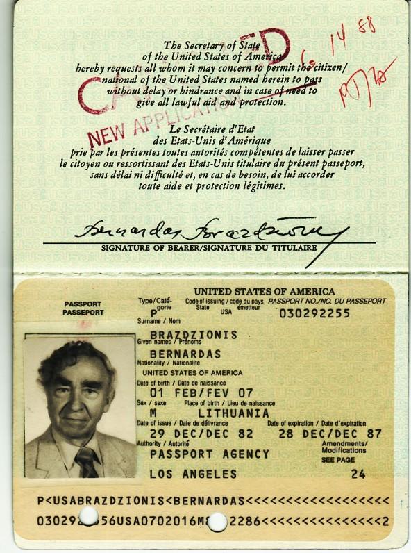 JAV pasas, išduotas B. Brazdžioniui 1982 m. gruodžio 29 d. Los Andžele