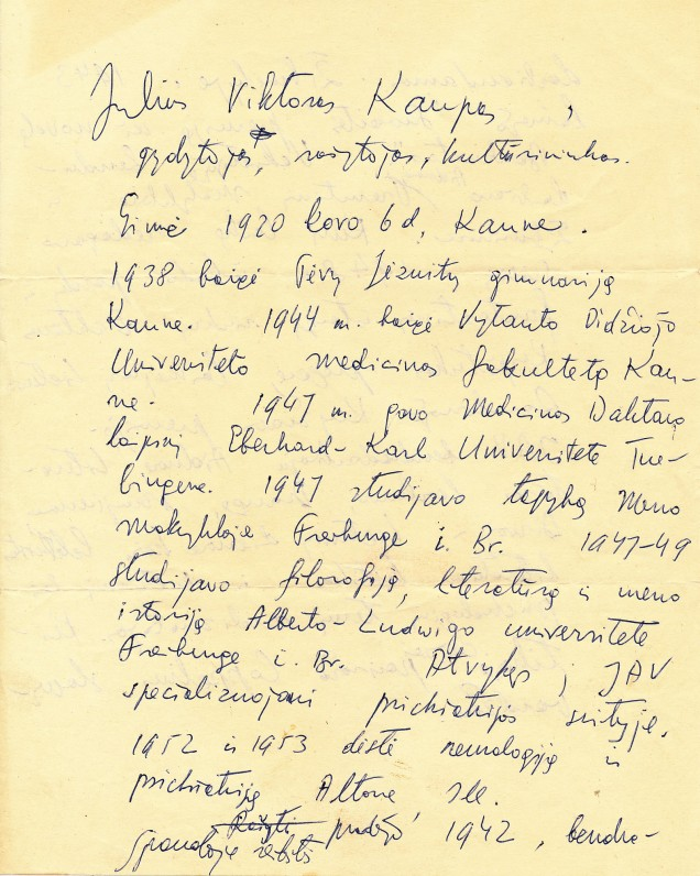 Juliaus Kaupo autobiografijos fragmentas
