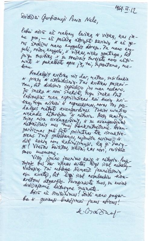 K. Barėno laiškas Nelei Mazalaitei. 1969 03 12