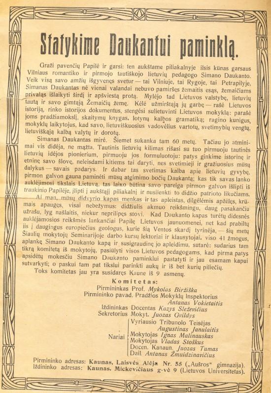 Kreipimasis dėl paminklo S. Daukantui. 1924 m.