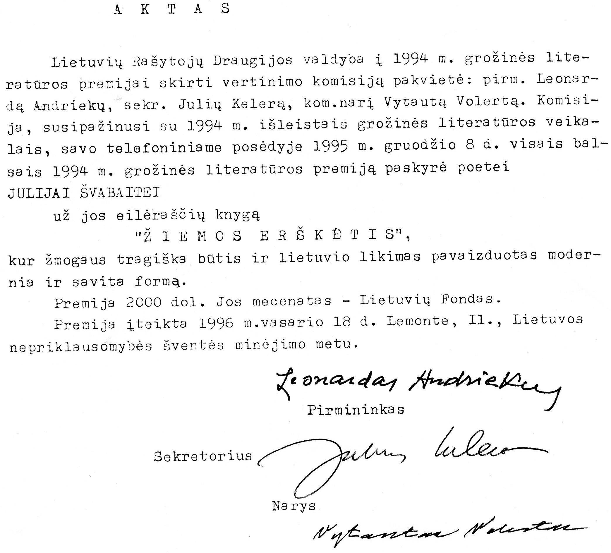"""LRD premijos paskyrimo aktas J. Švabaitei už eilėraščių knygą """"Žiemos erškėtis"""". 1995 12 08"""