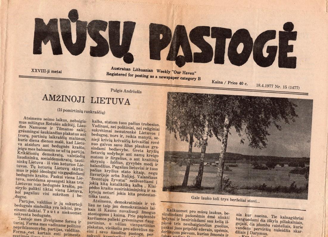 """Laikraštis """"Mūsų pastogė"""", kurį redagavo V. Kazokas"""