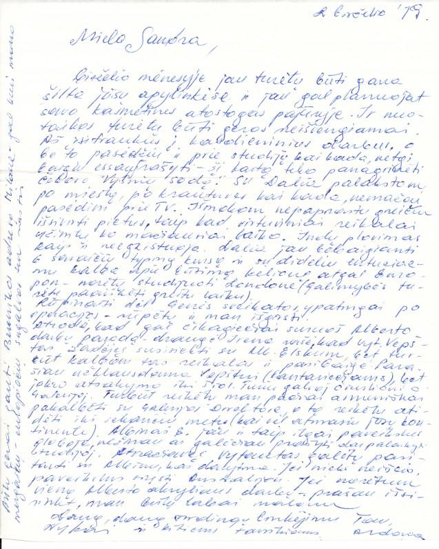 Laiškas Aleksandrai Laucevičiūtei–Čipkienei