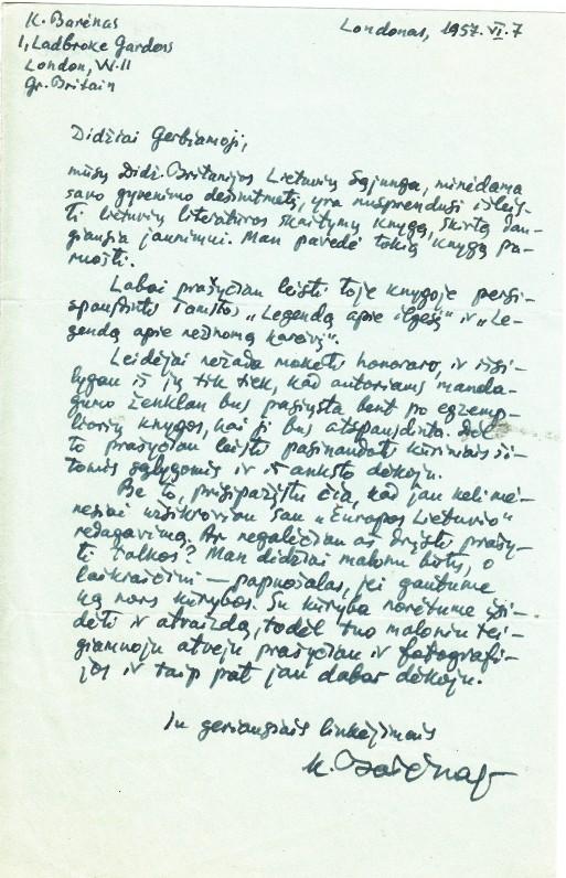 Laiškas Nelei Mazalaitei. Londonas. 1957 06 07