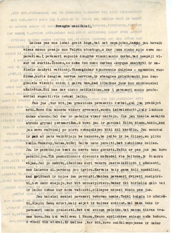 Laiškas brangiems namiškiams, rašytas 1940. IV. 27