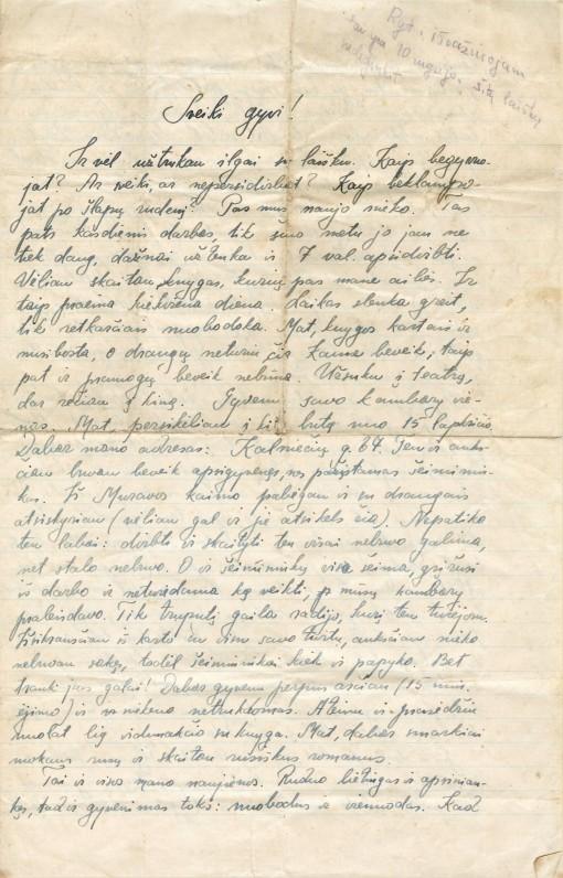 Laiškas į Gataučius iš Kauno. 1940. IX. 24