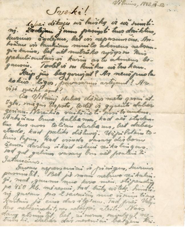 Laiškas iš Vilniaus į Gataučius. 1942. III. 12