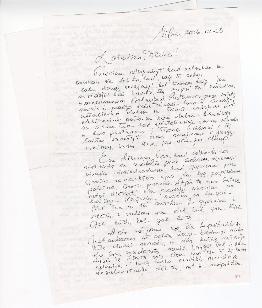 Laiškas latvių poetei Dainai Avuotiniai. 2006 04 23