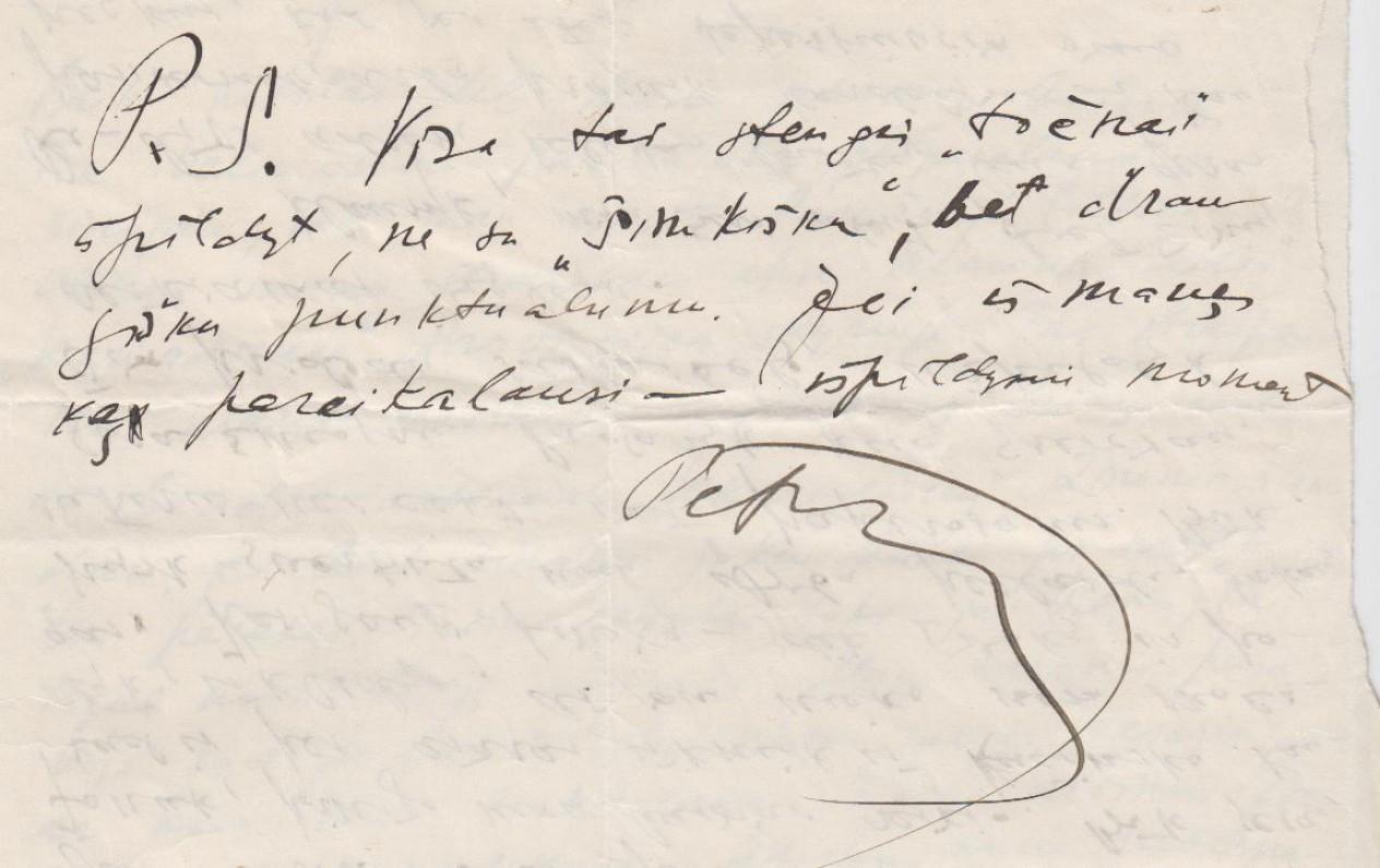 Laiško J. Šimkui Post Scriptum