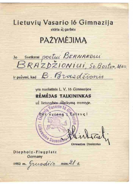 Lietuvių Vasario 16-osios gimnazijos Garbės pažymėjimas, išduotas B. Brazdžioniui 1952 m. gruodžio 21 d. Vokietijoje