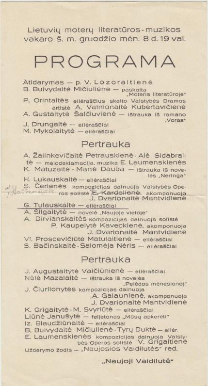 Lietuvių moterų literatūros vakaro programa. 1935 m. Pagal ją galime numanyti pirmojo vakaro, kurio programa neišlikusi, eigą