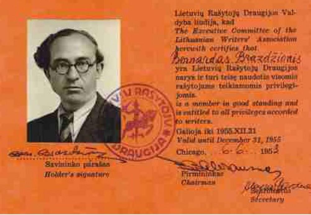 Lietuvių rašytojų draugijos liudijimas, išduotas B. Brazdžioniui 1953 m. birželio 6 d. Čikagoje