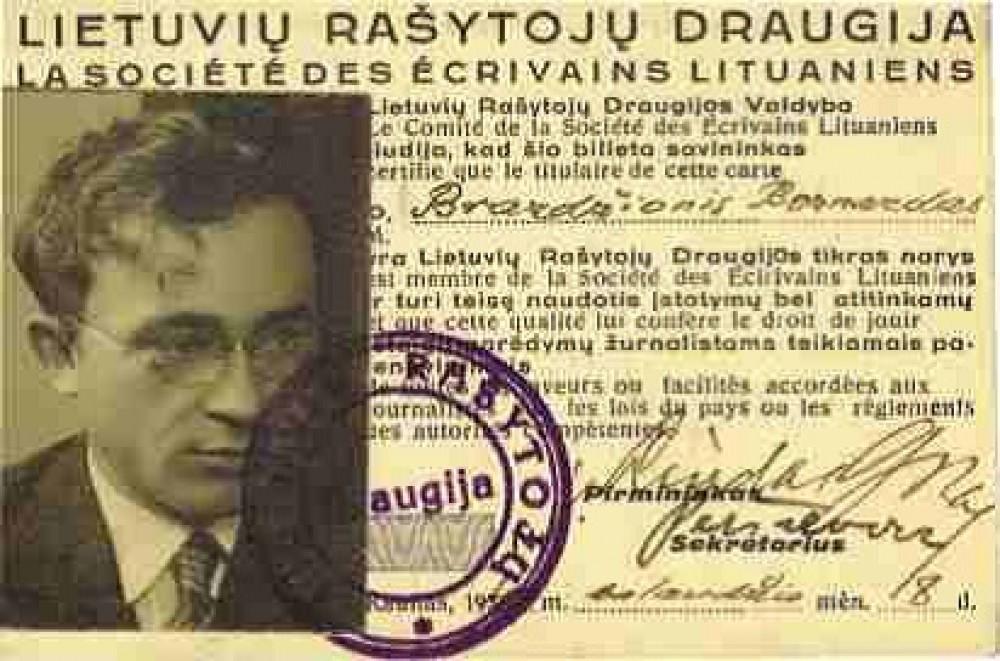 Lietuvių rašytojų draugijos pažymėjimas, išduotas B. Brazdžioniui 1940 m. balandžio 8 d. Kaune