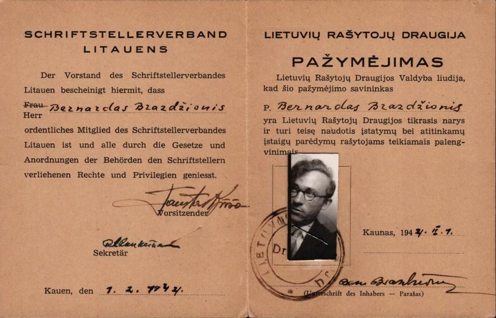 Lietuvių rašytojų draugijos pažymėjimas, išduotas B. Brazdžioniui 1944 m. vasario 1 d. Kaune