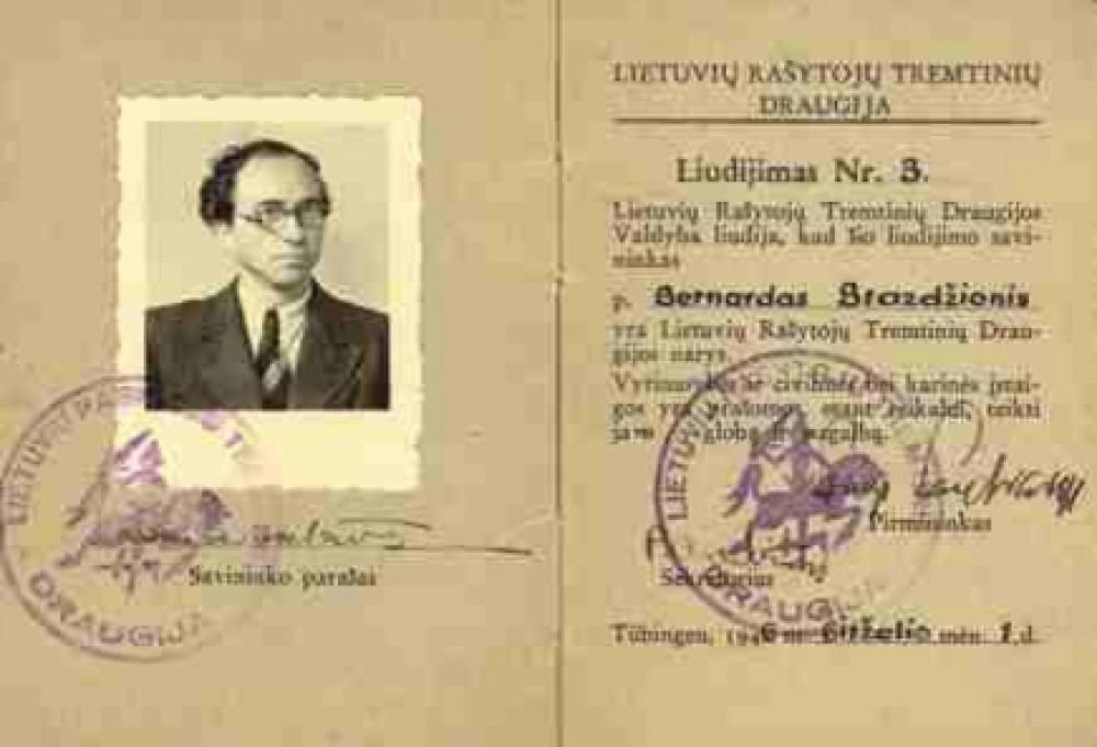 Lietuvių rašytojų tremtinių draugijos liudijimas Nr. 3, išduotas B. Brazdžioniui Tiubingene 1946.VI.1.