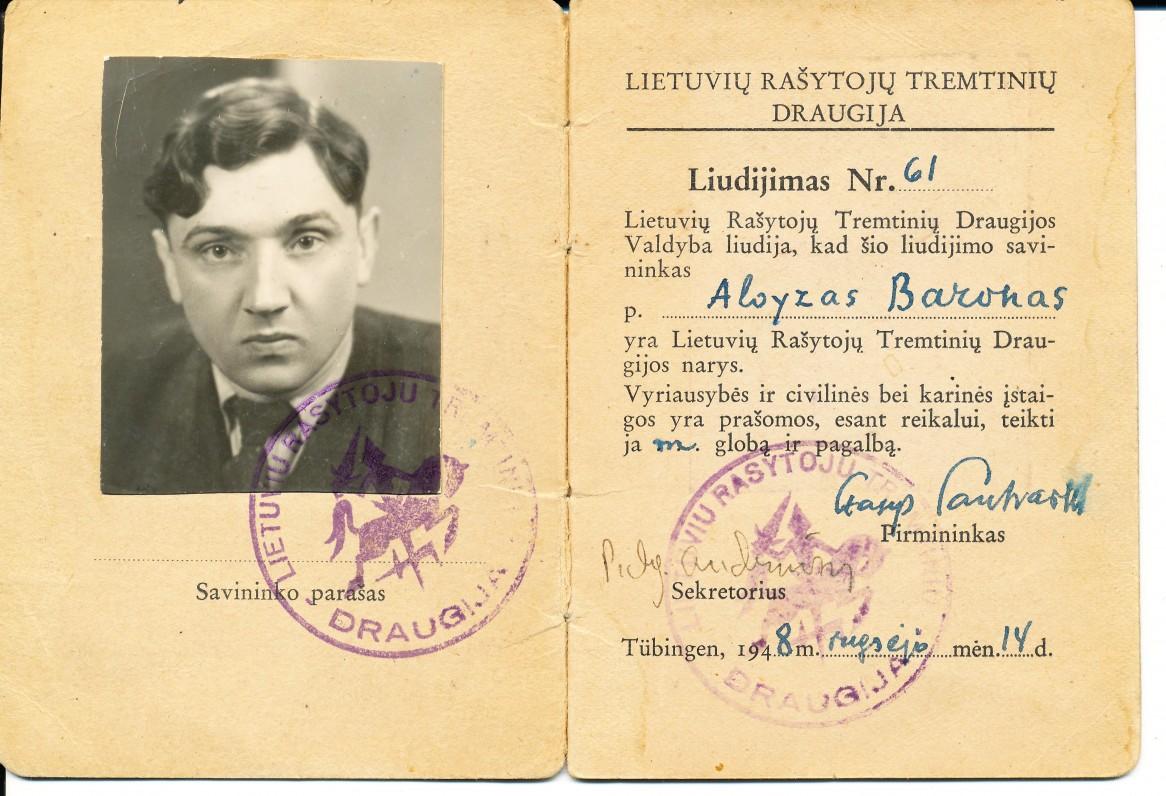 Lietuvių rašytojų tremtinių draugijos liudijimas Nr. 61, išduotas A. Baronui Tiubingene. 1948 m.