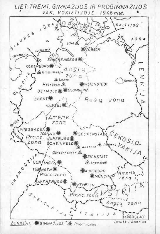 Lietuvių tremtinių gimnazijų ir progimnazijų, įsteigtų Vokietijoje, žemėlapis. 1946 m.