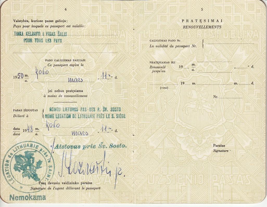 Lietuvos Respublikos užsienio pasas Nr. 2393, išduotas B. Brazdžioniui Romoje Lietuvos atstovo prie Šv. Sosto 1948 m. kovo 11 d., 3