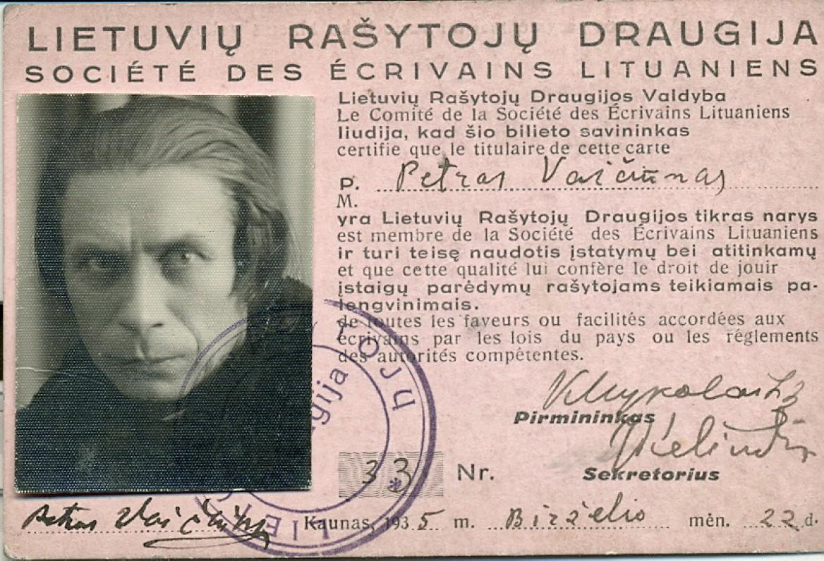 Lietuvos rašytojų draugijos nario pažymėjimas. Kaunas, 1935 m.