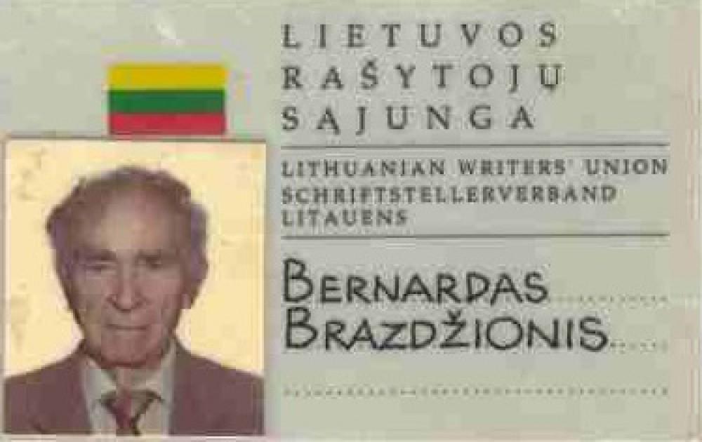 Lietuvos rašytojų sąjungos pažymėjimas, išduotas B. Brazdžioniui 1999 m. Vilniuje