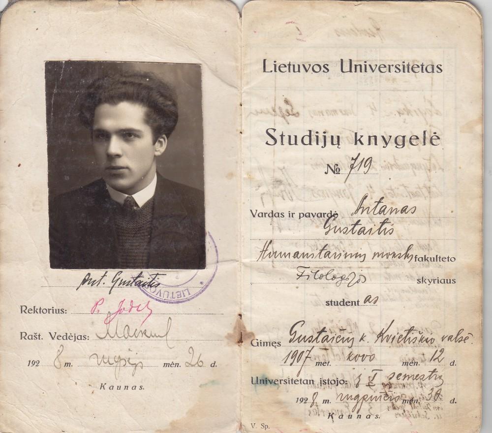 Lietuvos universiteto (dab. VDU) studento studijų knygelė. Kaunas. 1928 08 30