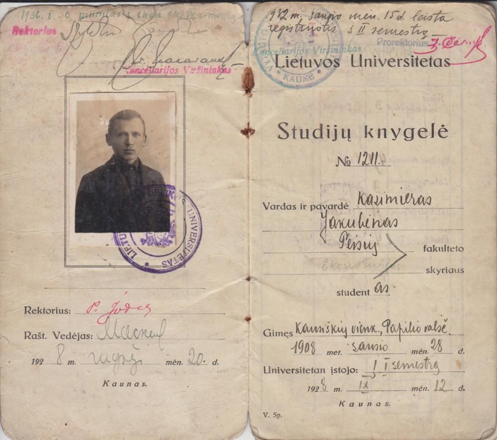 Lietuvos universiteto studijų knygelė Nr. 1211, išduota Kazimierui Jakubėnui, Teisių fakulteto Ekonomijos skyriaus studentui. 1928 m.