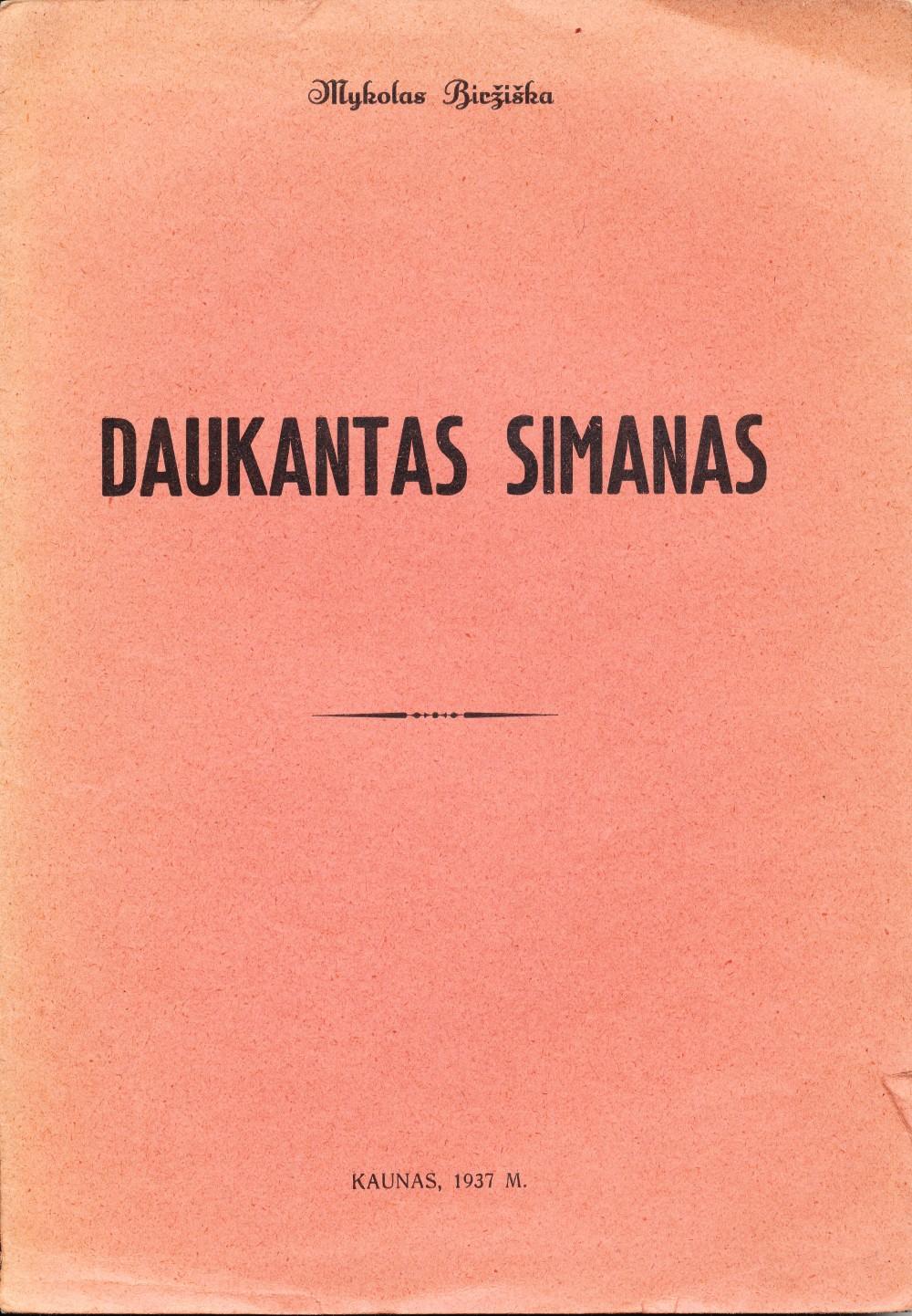 M. Biržiška. Daukantas Simanas. Kaunas. 1937 m.
