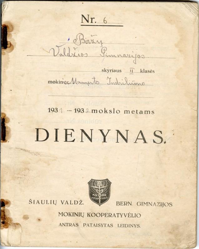 M. Indriliūno dienynas. 1931-1932 mokslo metai