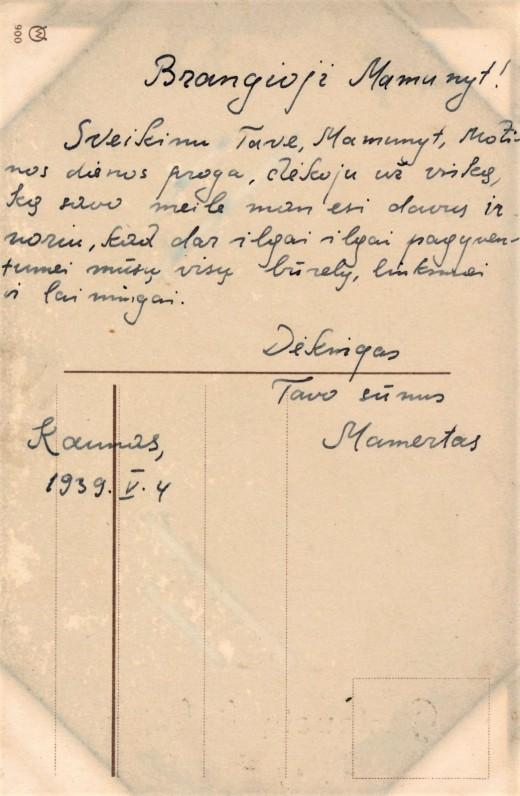 Mamerto atvirukas mamunytei. 1939.V. 4