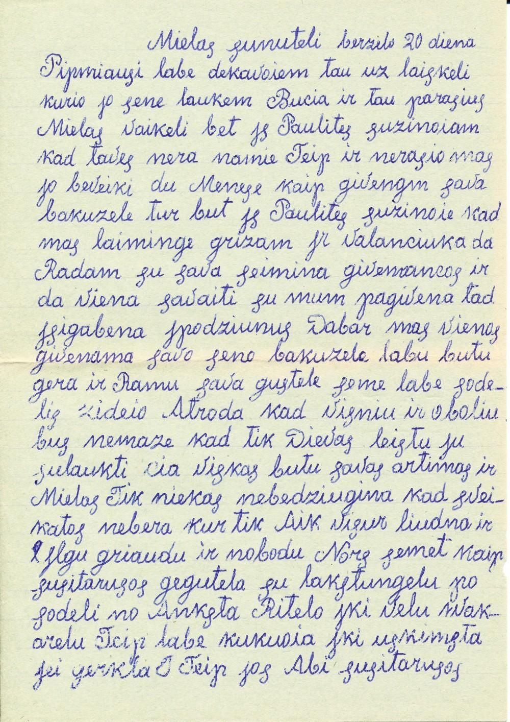 Mamos laiškas sūnui Jonui į Vilnių. Apie 1980 m.