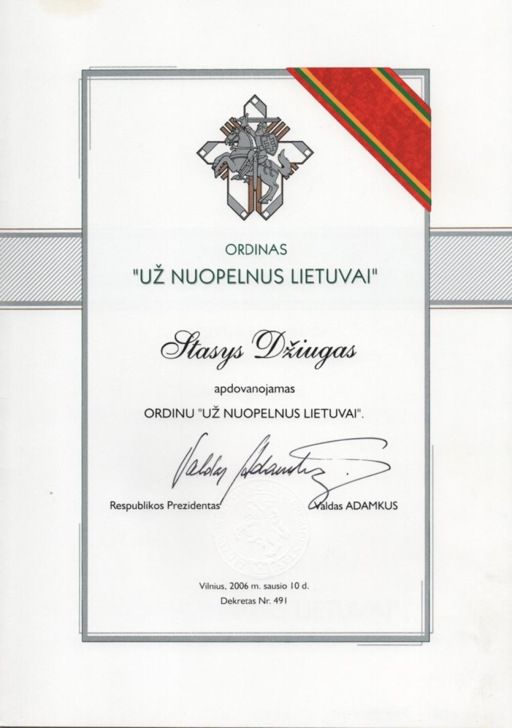 """Ordinas """"Už nuopelnus Lietuvai"""". 2006 01 10. Vilnius"""