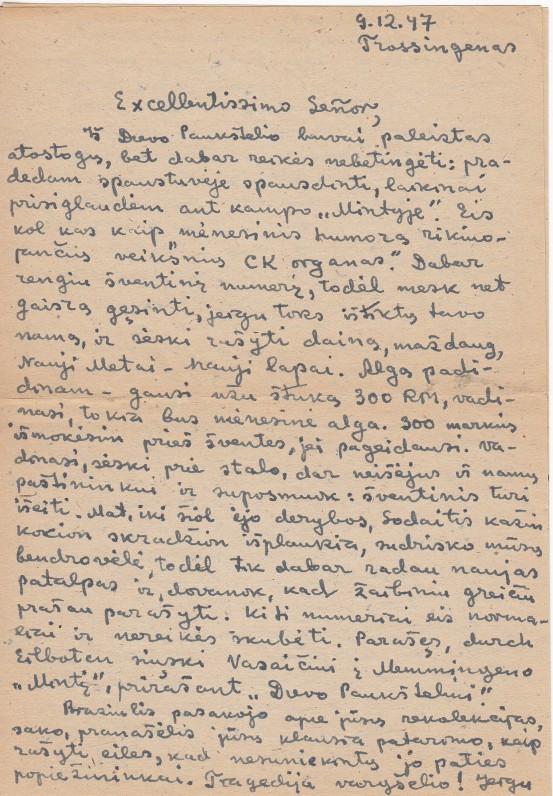 P. Andriušio laiškas A. Gustaičiui. Trosingenas. 1947 09 12