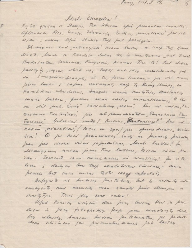 """P. Cvirkos laiškas """"Lietuvos žinių"""" redakcijos darbuotojams, Paryžius, 1937 m."""